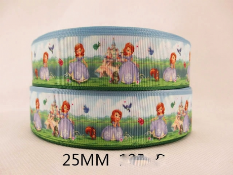1 METRE NEW PRINCESS SOFIA THE FIRST RIBBON SIZE 1 INCH BOWS HEADBANDS BIRTHDAY CAKE HAIR CLIPS